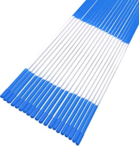 Growsun 48 inch Driveway Marker Snow Plow Fence Stake Blue Refective Fiberglass Poles,25 Pack
