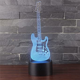 Luz de noche de acrílico, mini guitarra eléctrica Lámpara de mesa ...