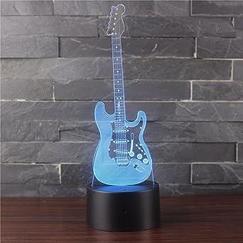 Luz de noche de acrílico, mini guitarra eléctrica Lámpara de mesa de modelado Usb Plug