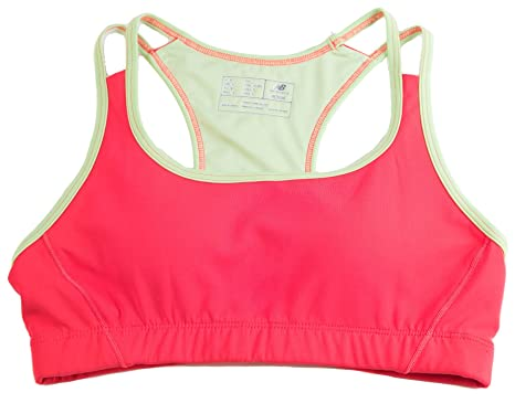 96d4902933e51 Image Unavailable. Image not available for. Color: New Balance Double Strap  Crop Womens Athletic Sports Bra Diva Pink ...