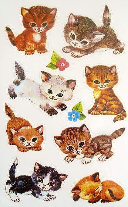 Gato Y Gatito Adhesivos - Infantil / infantil Etiquetas para ...