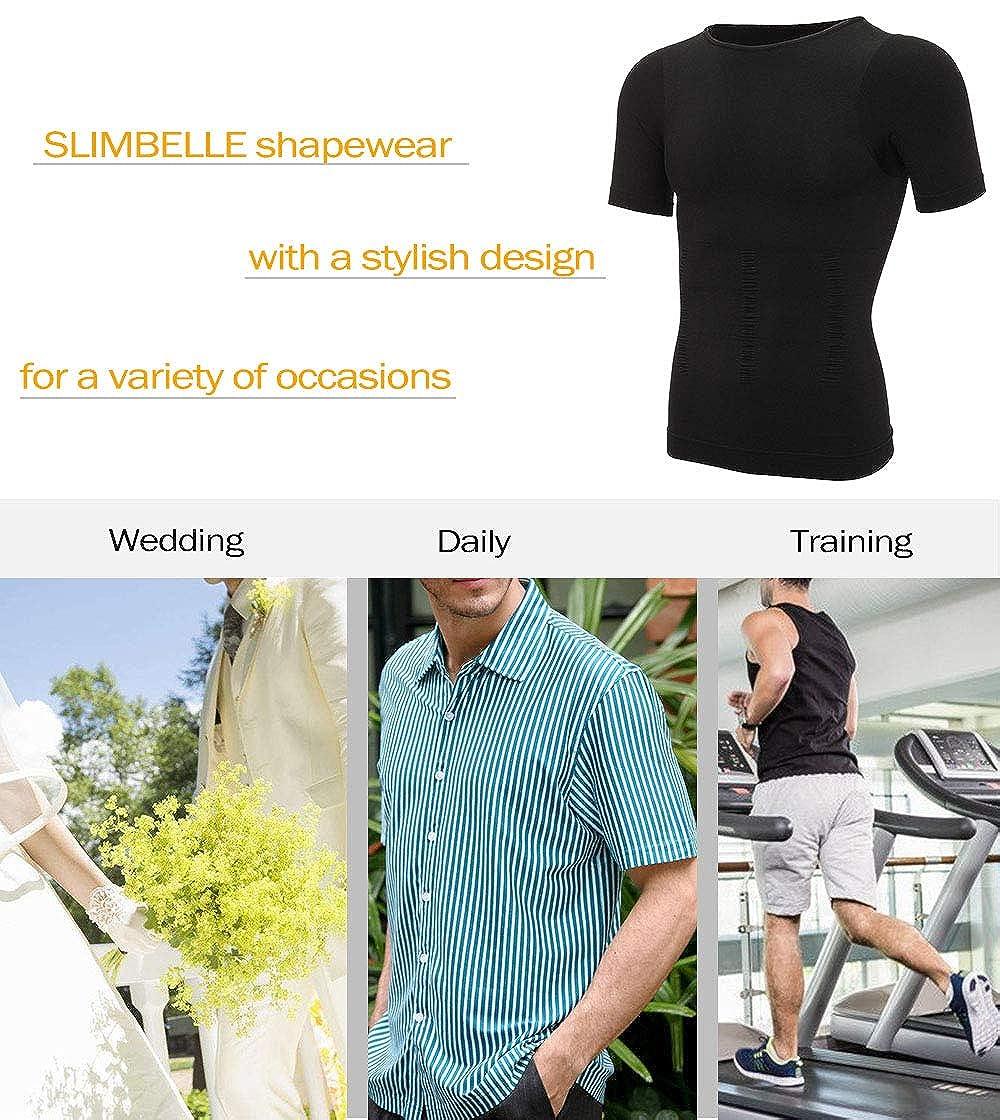 SLIMBELLE Maglietta Modellante Intimo Uomo T-Shirt Snellente Shapewear Camicia Dimagrante Manica Corta Maglie Compressione Pancia Piatta Bianco o Nero