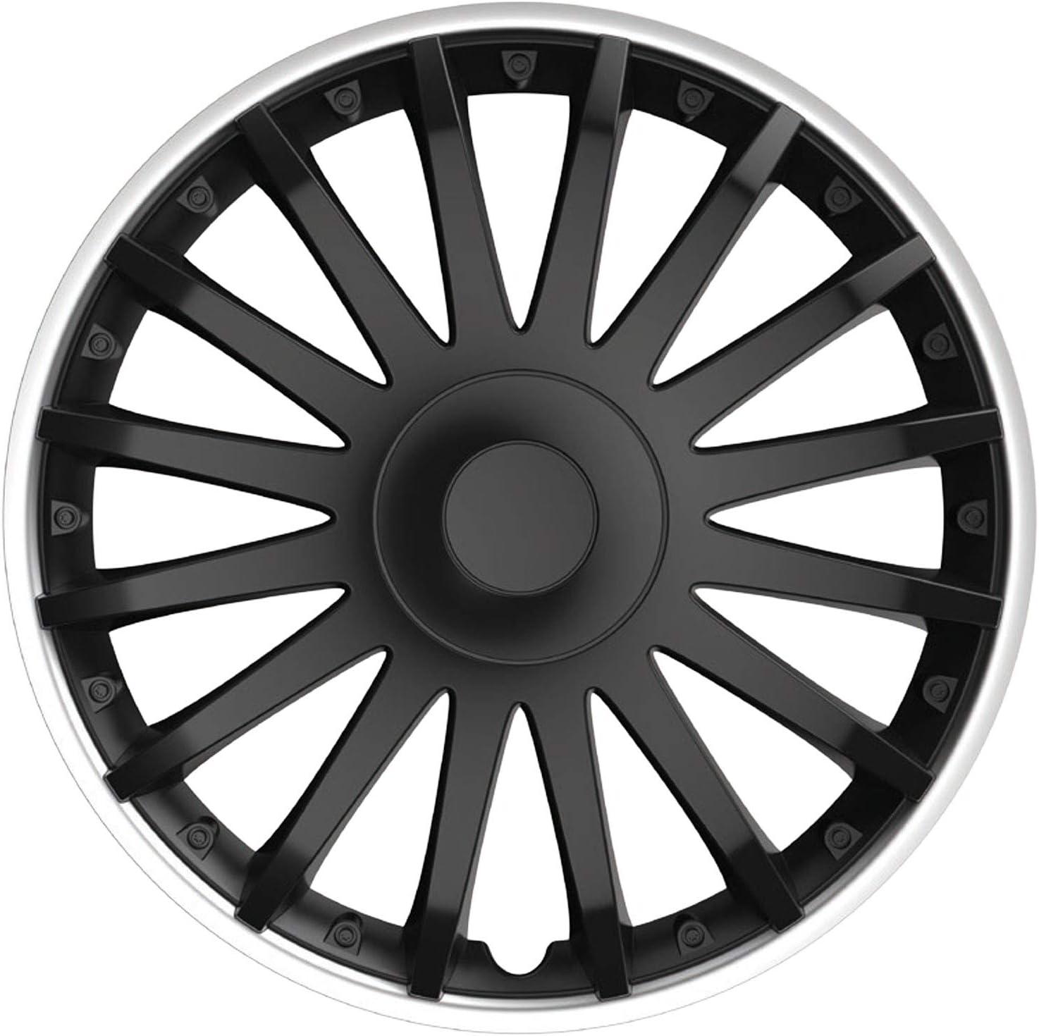 14 Zoll Cartrend 10560 Radzierblenden Topeka in sportlicher Alufelgen-Optik schwarz//Silber 35,56 cm 4er Set 4-teilig