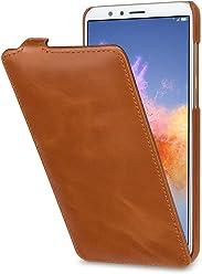StilGut UltraSlim Case, Custodia Flip Case per Huawei Honor 7X in Vera Pelle, Cognac