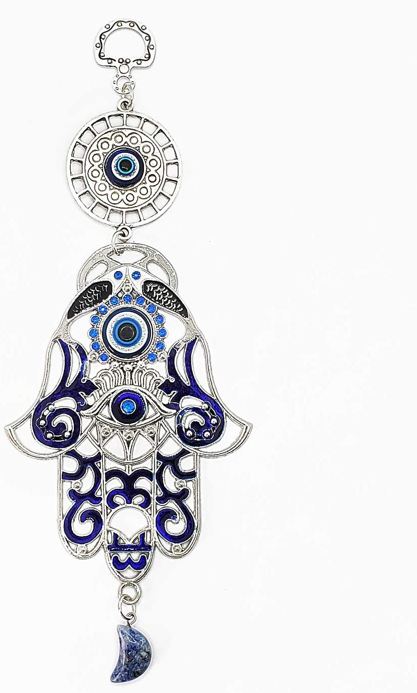 """LUCKBOOSTIUM - Inlaid Evil Eye in Ornate Hamsa Hand with Lucky Eye Circle, Hanging Sodalite Gemstone Half Moon Amulet, Happiness, Luck, Health, for Car, Office, Home, Great Gift, Silver, 3.1"""" x 8.5"""""""