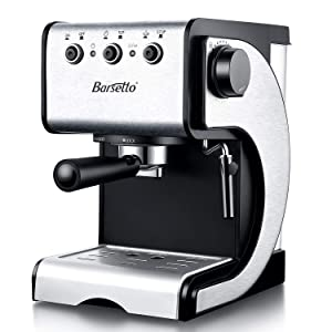 Barsetto Espresso Machine With Milk Frother,Espresso Maker, Coffee Maker with milk steamer,1000W,15 Bar Pump, Black/Stainess Steel