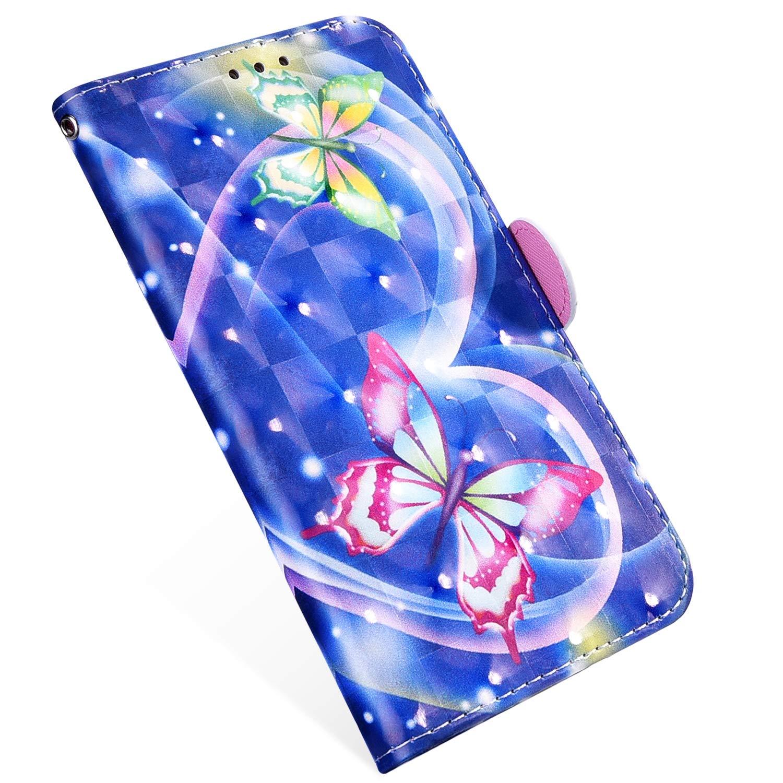 MoreChioce compatible avec Coque Galaxy S9 Plus /Étui avec Rabat,Luxe 3D Glitter Brillant Papillon Bleu Housse en Cuir Clapet Case Bookstyle Protectrice Wallet Cover Magn/étique Aimant/ée Supporter