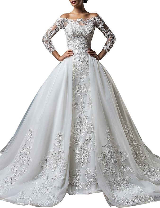 f818ebc2796e Changjie Donna Tre quarti senza maniche in pizzo A-line abito da sposa Con  Staccabile cappella treno  Amazon.it  Abbigliamento