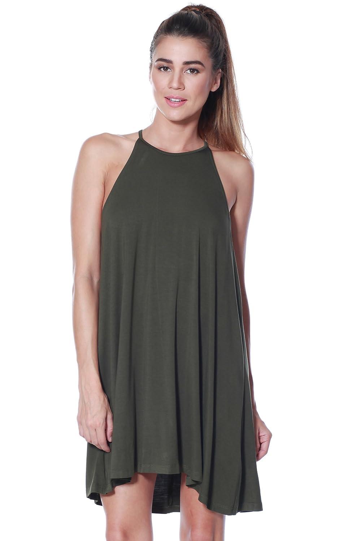 Womens Modal Halter Tank Dress - Casual Knit Swing Tunic