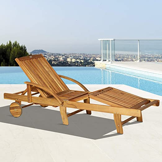 Folding Sun Lounger with Wheel Garden Pool Wooden Poolside Furniture Patio Chair