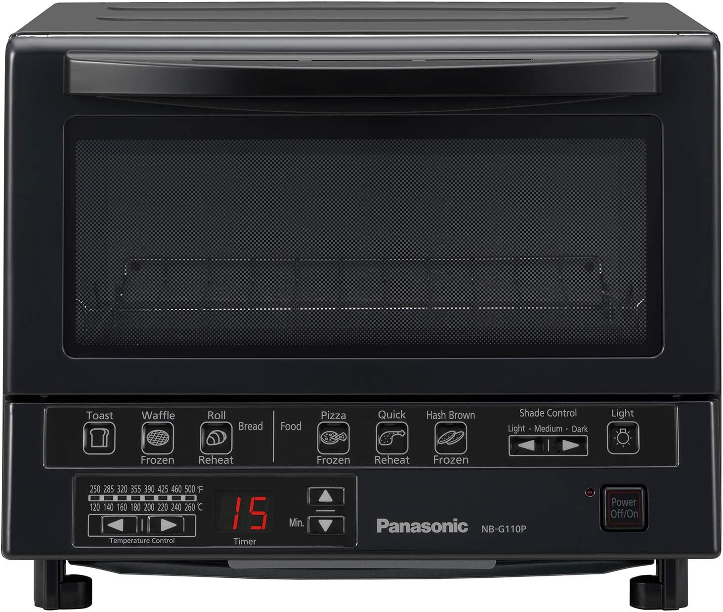 Panasonic FlashXpress Compact Toaster Oven with Double Infrared Heating, Crumb Tray and 1300 Watts of Cooking Power – 4 Slice Countertop Toaster Oven - NB-G110P-K (Black) (Renewed)