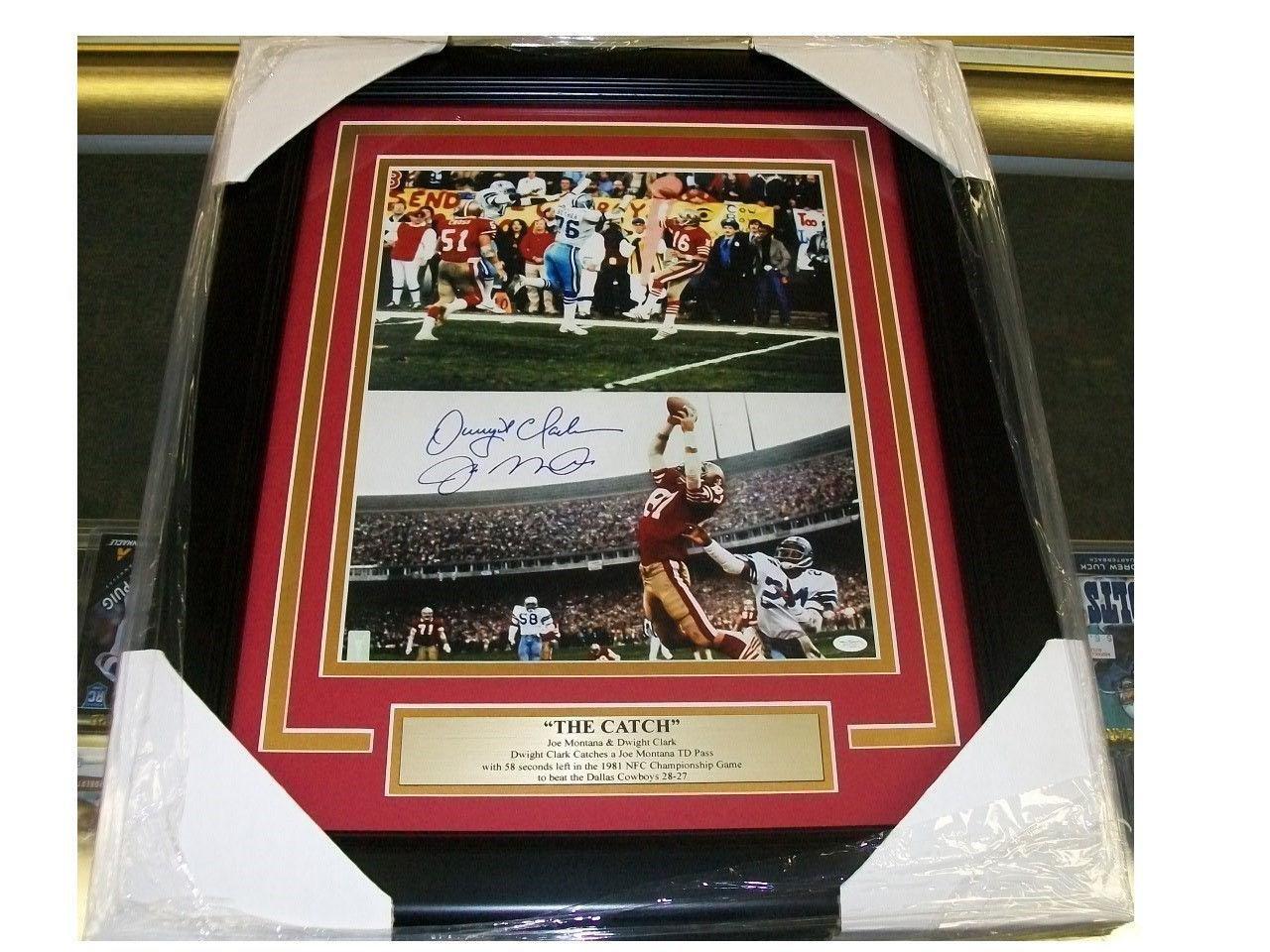Joe Montana Dwight Clark The Catch Autographed Reprint Framed 8x10 Photo 49'ers Autographed NFL Photos