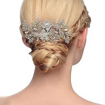 Amazon Com Ts Silver Wedding Hair Brooch Leaf Shape Combs With