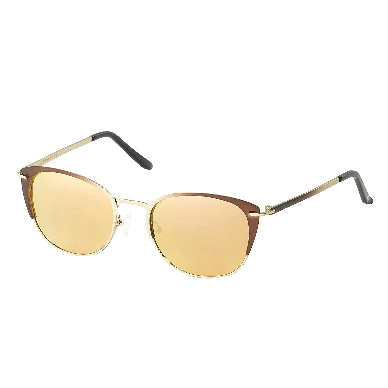 170ae42f517 Amazon.com  Eagle Eyes LYRA Womens Sunglasses - Elegant Bronze Metal Rimmed  Mirrored Polarized Sunglasses  Clothing