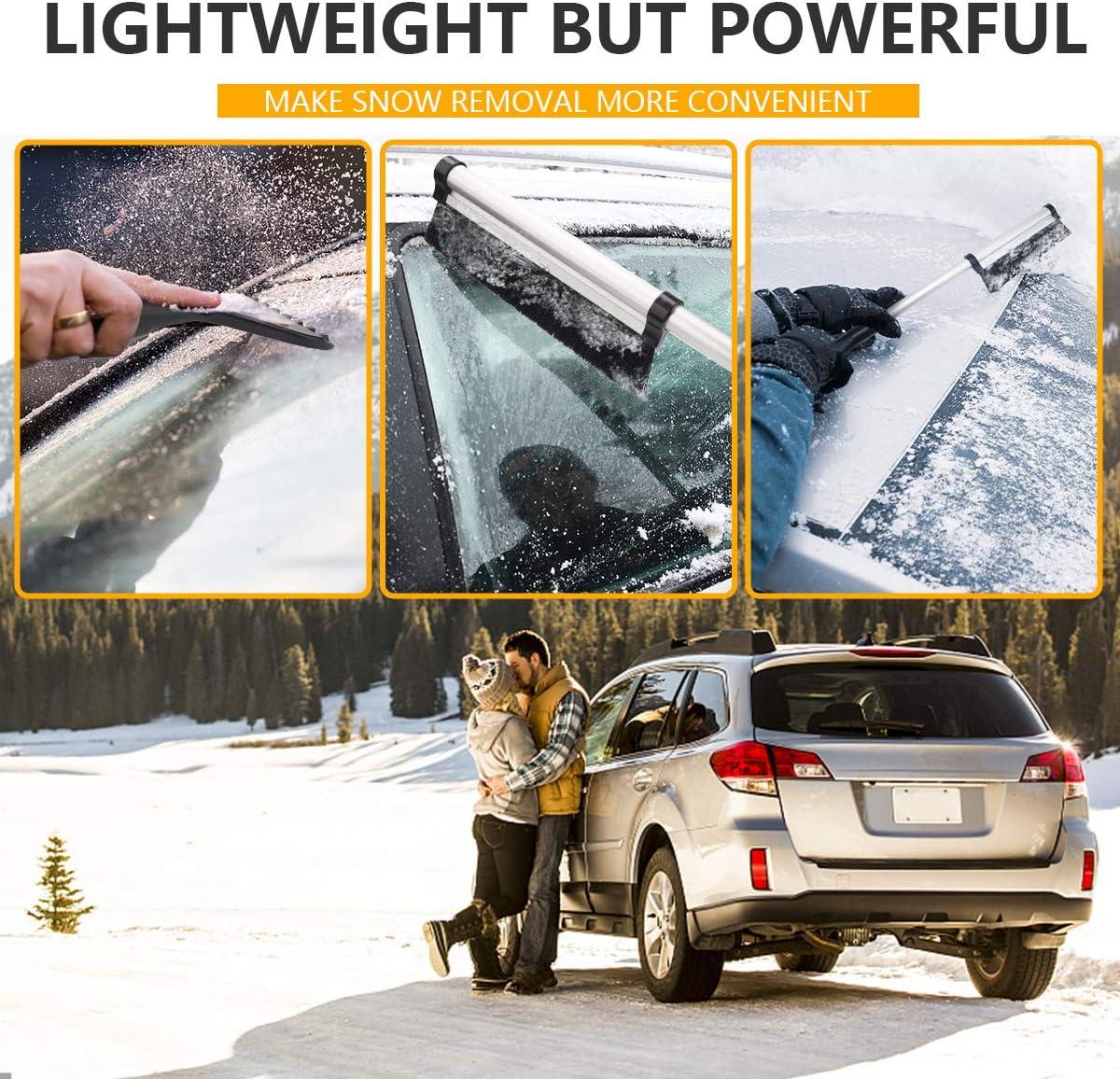 Durable ABS /& Aluminum Alloy Snow Remover Tool Truck Windshield Windows Auto SUV Snow Brush for Car Kalapo 26 Car Snow Brush Extra Long Extendable Ice Scraper Black