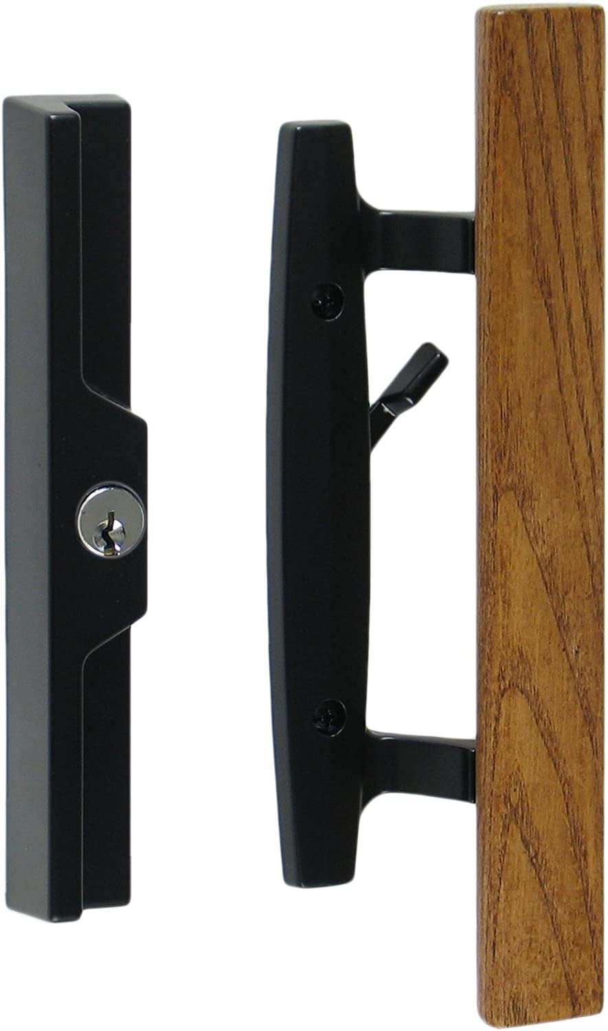 """Standard 3-15//16/"""" CTC Screw Holes Includes Key Cylinder 1-1//2 Door Thickness Lanai Sliding Glass Door Handle Set with Oak Wood Pull in White Finish"""