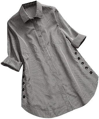 Mujer con Camisas De Manga Sencilla Larga A Cuadros Elegantes con Camisa Holgada con Botones Y Tallas Grandes Top Blusa Otoño Invierno Camiseta: Amazon.es: Ropa y accesorios