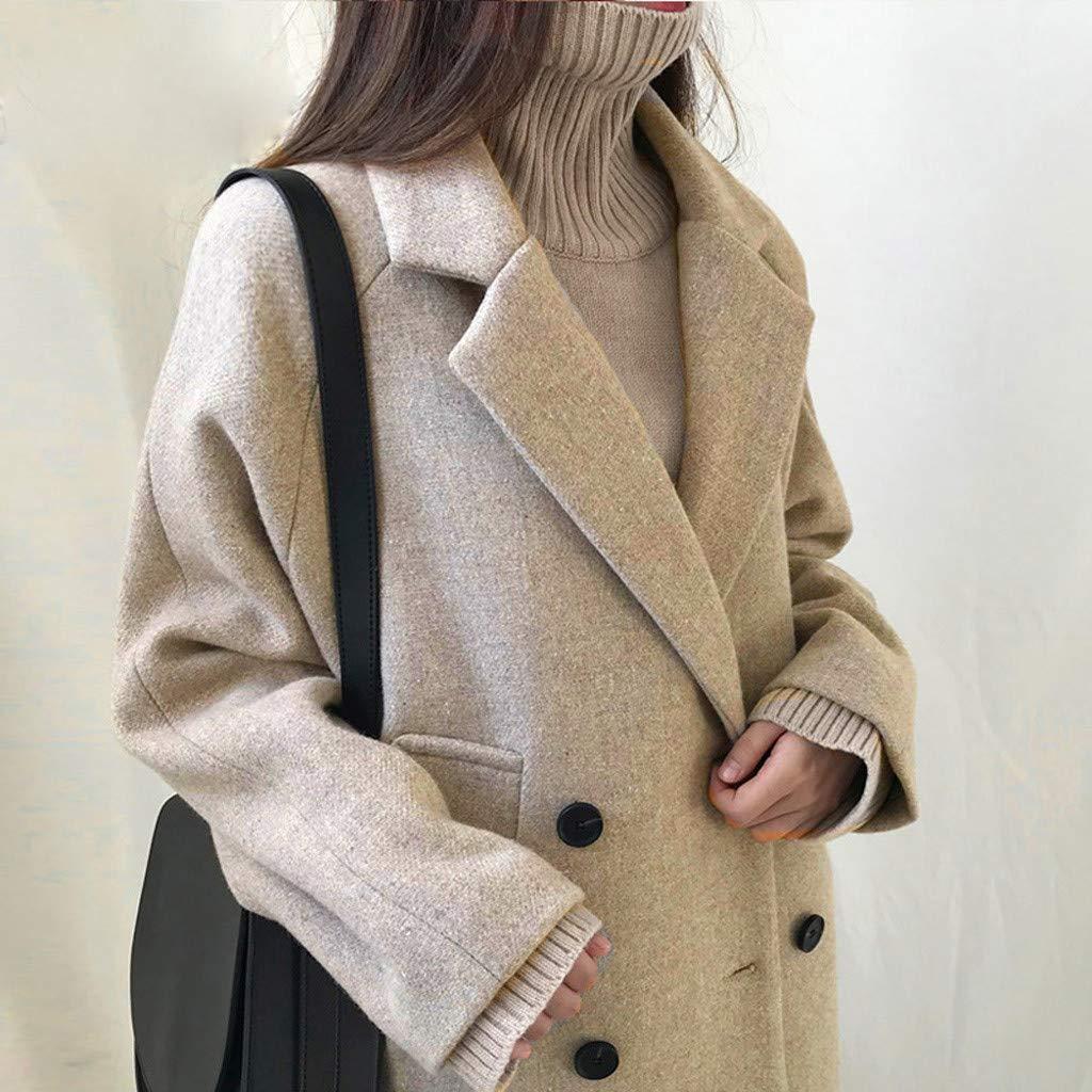 Amiley Womens Solid Overcoat Double Breasted Long Coat Fashion Pockets Long Sleeve Jacket Coat Winter Warm