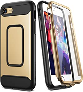 YOUMAKER Designed for iPhone SE 2020 Case/iPhone 8 Case/iPhone 7 Case (NOT PLUS),Full-body Rugged Case with Built-in Screen Protector for iPhone SE 2nd Generation/8/7 4.7 Inch - Gold