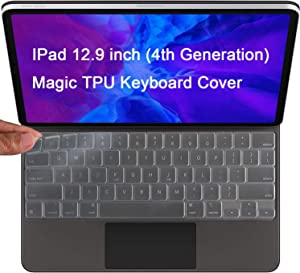 Lapogy 2020 Magic Keyboard Cover Skin Only Compatible for Ipad Pro 12.9 inch (4th Generation) Release Model 2020 MXQU2LL/A,TPU Protective Skin Keyboard Accessories Cover,Clear