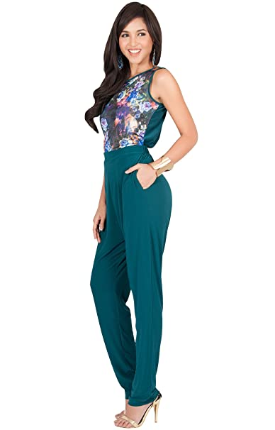080c31ca221 Amazon.com  KOH KOH Womens Long Sleeveless Casual Sexy Summer Floral Print Jumpsuit  Romper  Clothing