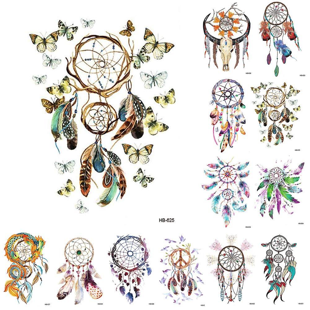 Ownsig 12 Sheets Waterproof Temporary Tattoos Dream Catcher Tattoo Stickers for Women Teens Girls Body Art
