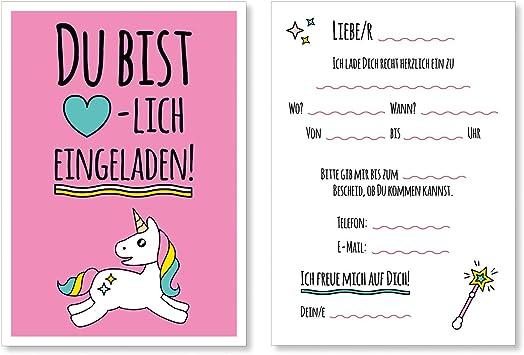 Einladung Kindergeburtstag Einladungskarten Mädchen Kinder Geburtstag Einhorn 2