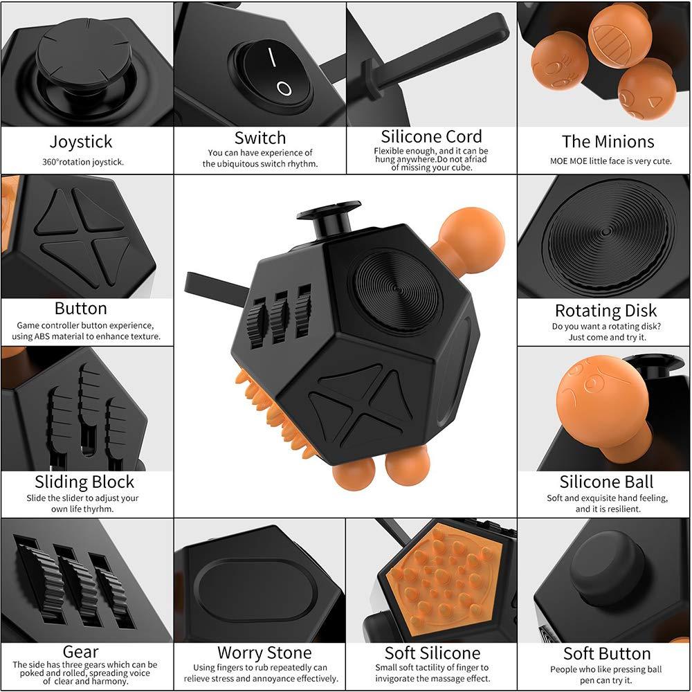 YUWJ Cube Fidget /à 12 Faces Fidget Twiddle Cube Dod/écagone D/écompression Cube D/écompression Cube D/écompression de Jouets pour ADD ADHD Enfants,Yellow