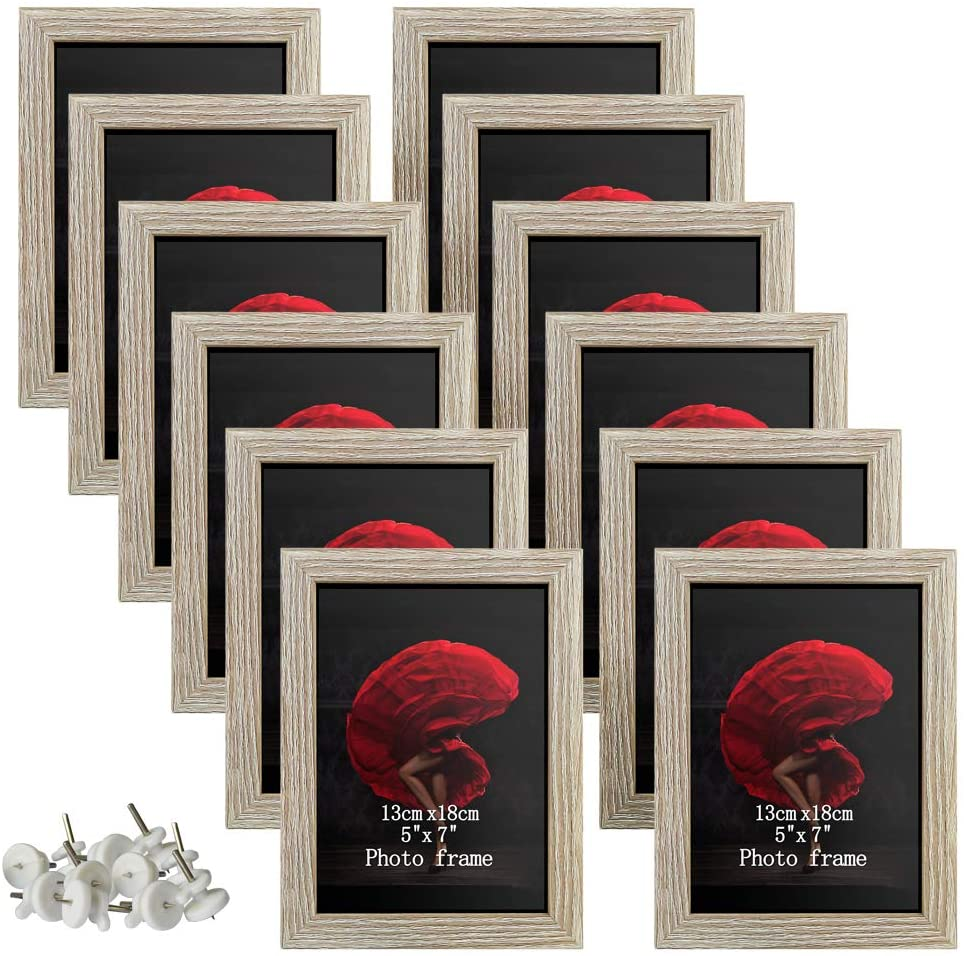 5x7 Picture Frames Set of 12 Rustic Distressed Art Wall Hanging Table Desk 7x5 Family Gallery Multi Photo Frame