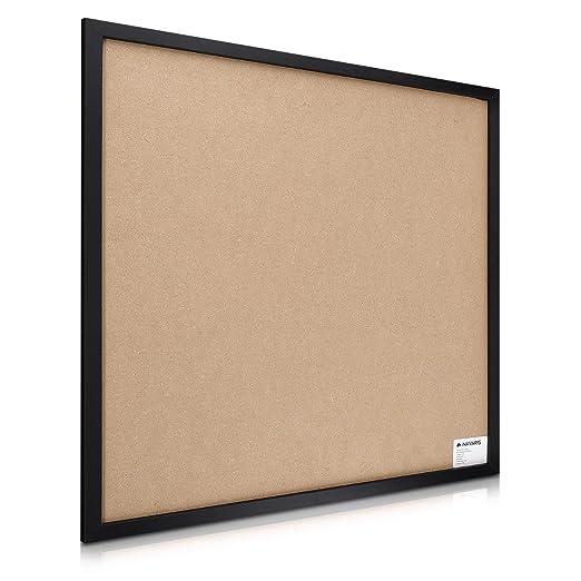 Navaris Tablero de corcho y pizarra - Tablero para notas 56 x 56CM - Con lámina autoadhesiva - Planificador con tiza chinchetas soporte