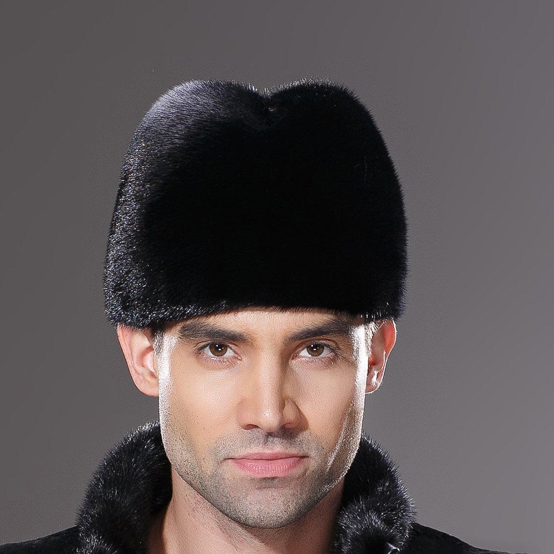URSFUR Mens Winter Russian Cossack Hat Real Mink Fur Cap Black by URSFUR (Image #4)