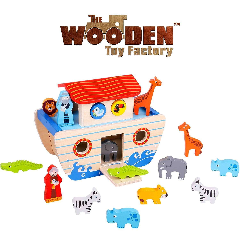 木のおもちゃ工場 - ノアの箱舟のプレイセット木の形の選別機 - 教育玩具   B07H23JMRP