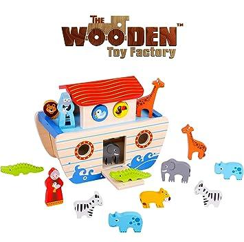 The Wooden Toy Factory Set De Juegos Del Arca De Noe Juguetes