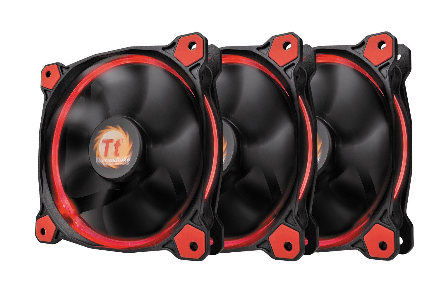 Thermaltake Riing 12 High Static Pressure Circular Ring Red LED Case/Radiator Fan with Anti-Vibration Mounting System Triple Pack Cooling CL-F055-PL12RE-A