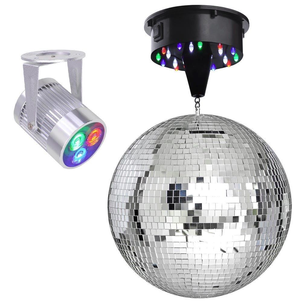 12'' Mirror Disco Ball DJ Stage Party LED Light Rotating Motor 3W Spotlight Kit (RGB)