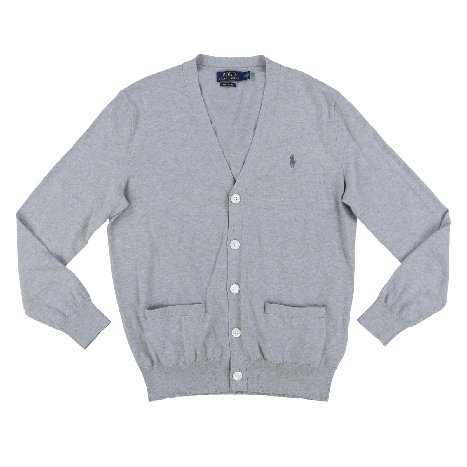 Polo Ralph Lauren Mens Pima Cotton Cardigan Sweater (Large, Andover Heather Gray)