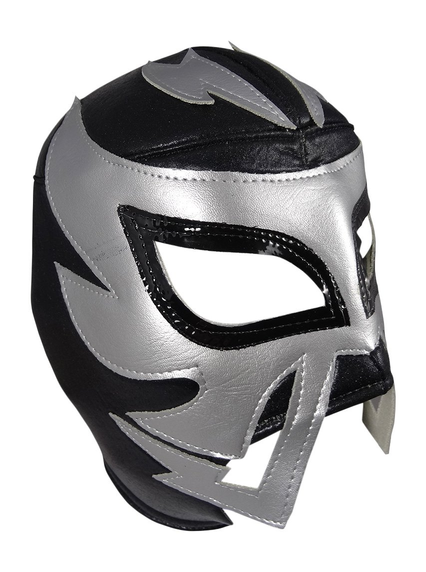 RAYMAN Adult Lucha Libre Wrestling Mask (pro-fit) Costume Wear - Black/Silver