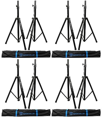 Amazon com: (4) Pairs Rockville Tripod DJ PA Speaker Stands+Carrying