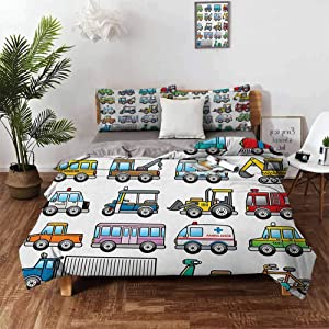 "Washed Duvet Cover Set, Colorful Set of Land Transportation Displayed in Four Lines all from Bicycle to Truck 1Comforter Cover and 2 Pillow Shams Double-Needle Durable Stitching Comfy - Queen 90""x90"""