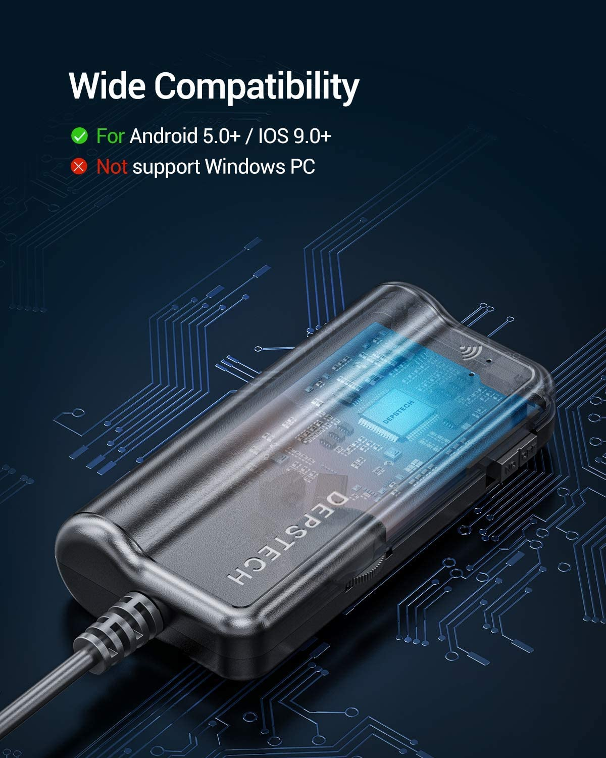 Wireless Endoscope Camera 16.5FT 1080P HD Semi-Rigid Snake Camera for iPhone Tablet DEPSTECH 5.5mm WiFi Borescope with 2200 mAh Battery Sewer Drain Pipeline Inspection Camera Android
