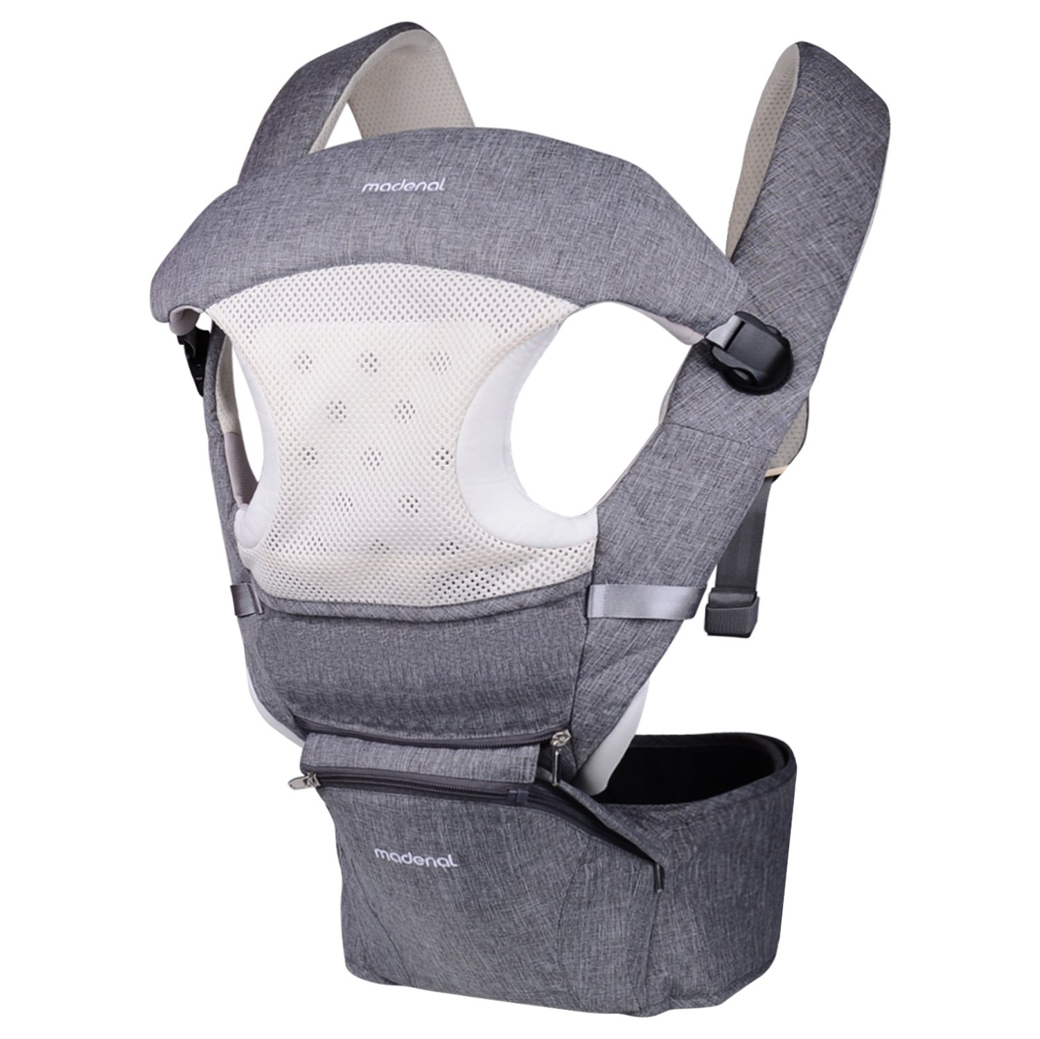 MADENAL 360º Ergonomic Baby Carrier with Hip Seat, 10 Positions For All Seasons, Adjustable Normal to Oversize (S - XXXL), Breathable Waistband and Effortless - Gray