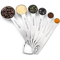 U Chef Set de cucharas medidoras para ingredientes líquidos o secos. Contiene 6 cucharas de acero inoxidable calidad…