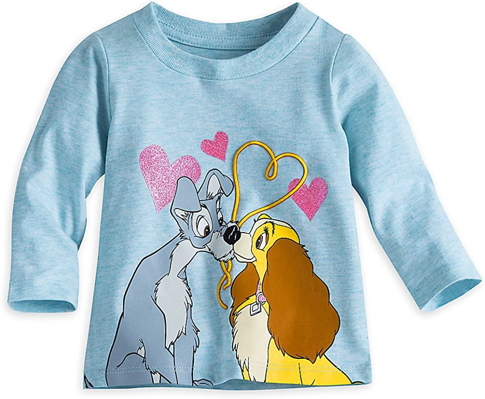 Amazon Com Disney Lady And The Tramp Long Sleeve Tee For Baby Size 0 3 Mo Green Clothing