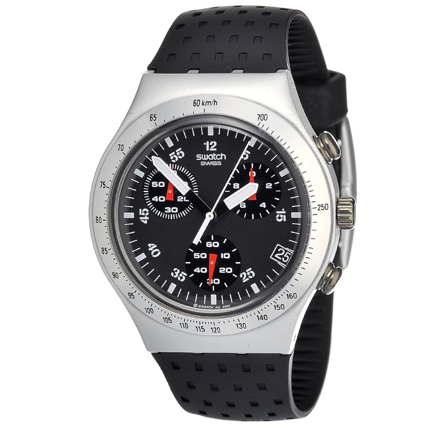Amazon.com: Swatch Mens YCS4024 Quartz Aluminum Black Dial Chronograph Watch: Swatch: Watches
