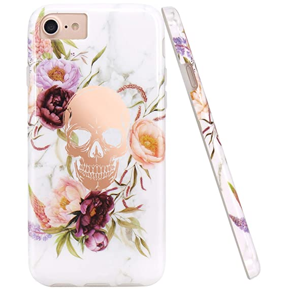 JIAXIUFEN Shiny Rose Gold Flower Skull White Marble Slim Shockproof Flexible Bumper TPU Soft Case Rubber Silicone Cover Phone Case for iPhone 7 / ...