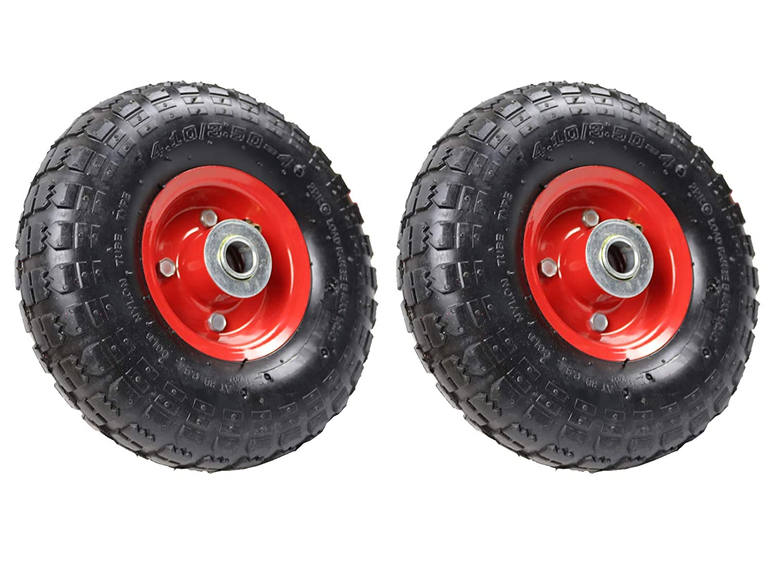 2x Replacement Wheel Sack Truck Trolley Red Metal Hub 20mm Bore 10 inch