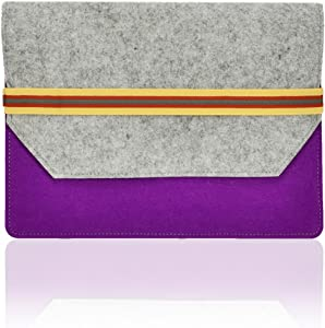 "TOP CASE Felt Environmental Purple Sleeve Bag/Carrying Case with Elastic Band Closure Compatible with Apple MacBook 12"" Model A1534 with TOP CASE Mouse Pad (Latest MacBook 2015)"