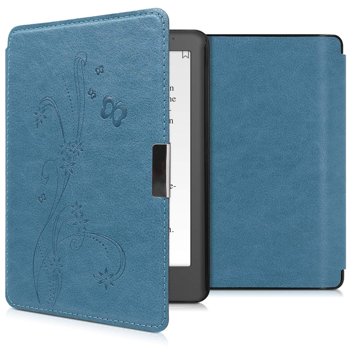 kwmobile Case for Kobo Aura Edition 2 - Book Style PU Leather Protective e-Reader Cover Folio Case - Blue Grey Black KW-Commerce 44409.12_m001173