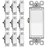 [10 Pack] BESTTEN 3-Way Decorator Wall Light Switch, 15A 120/277V, On/Off Rocker Interrupter, UL Listed, White