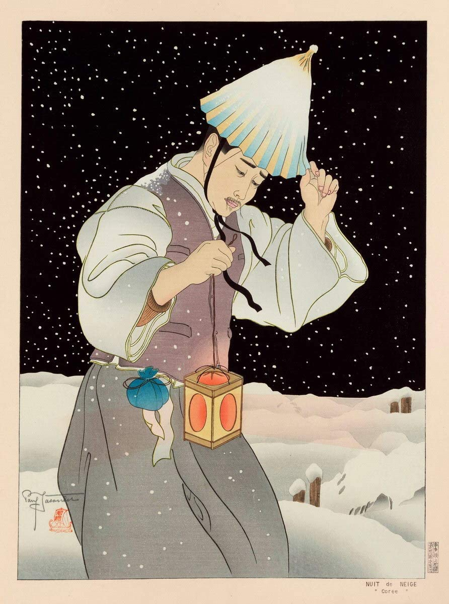 Berkin Arts Paul Jacoulet Giclee Print On Paper-Famous Paintings Fine Art Poster-Reproduction Wall Decor(Snow Night Korea Snowy Night) #XZZ